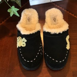 UGG Black Suede Butterfly Clogs